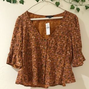 Burnt orange American eagle floral top